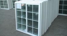 2013 nuevo estilo económico blanco PVC ventana corredera, casa de diseño de la parrilla de ventana con persiana de la ventana de