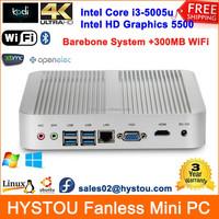 Wholesale 5th Gen Intel Core i3 5005u 2GHz Fanless Mini Desktop PC X86 Barebone Gaming System HD5500 WiFi LAN USB HDMI Bluetooth