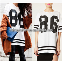 Womens Summer CREW NECK Casual LOOSE SPORT Football Blouse and top womens clothing summer 2015