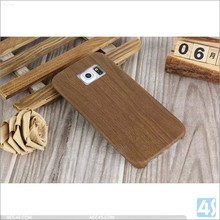 Hottest wood grain pu leather tpu case cover for Samsung galaxy s6 edge classical brown