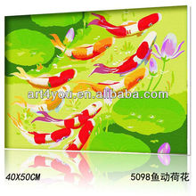 Pop Fish diy oil painting by numbers on canvas