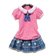 Fashion School Kid Girl Children's Doll Neck Print T-Shirt And Applique Layered Short Skirt Set SV018533