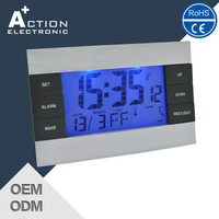 Radio controlled digital clock with LED backlight
