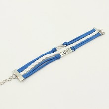 Leather Bracelet, Fashion Love 8 Charm Braided Jewelry PU Stingray Leather Bracelet, Bracelet Jewelry Wholesale Multi Row PT2159