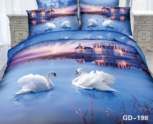 White Swans swimming in the the City of Love 3d bed set