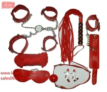 8pc Leather Bondage Restraint Kit Set (Cuffs, Mouth restraint, Collar, Mask, Whip,Rope, Hogtie) Under the Bed Fun Sex Toy