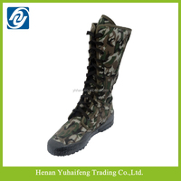 Wear-resistant long military boots camouflage colored& lace-up boots