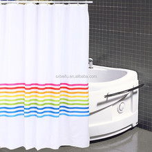 100% polyester transfer printed with stripes home use 180*180 inch mildew resistant waterproof shower curtain