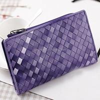 low MOQ30 professional supplier quality sheepskin fashion leather ladies purse women woven women leather wallet fashion