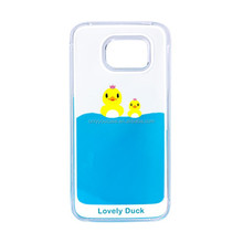 Lovely Duck Cartoon Design Liquid Case For Samsung Galaxy S6 Creative Phone Cover Flowing Liquid Design