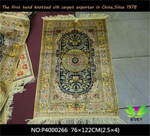 76x122cm Handmade 100% Chinese silk rugs for sale modern golden floral pattern carpet