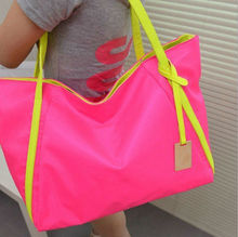 2013 Fashion lady nylon tote bags with long handle