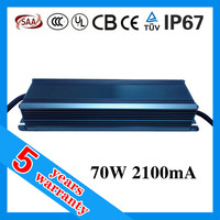 5 years warranty waterproof IP67 ac to dc 28V to 36V dimmable LED driver 2100mA 70W constant current LED power supply