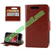 Crazy Horse Pattern wallet flip leather case for htc desire 200