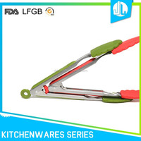 High quality easy handle no-stick stainless steel silicone tongs