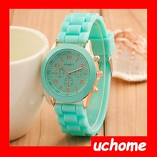 UCHOME 2015 trending hot products Geneva Silicone quartz watch Ladies Jelly Sport wristwatch,Woman dress watches,12colors