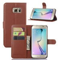 9 Colors Litchee Pattern stand wallt leather case for Samsung Galaxy S6 Edge Plus