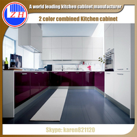 2016 new high glossy modern purple white 2 color combined kitchen cupboards kitchen cabinet simple designs