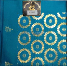 2015 TQ blue and gold best quality gele african design embroidery regular headtie