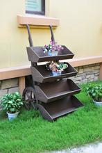 garden wooden cart planter, flower pot & planter carrier ALS-2118