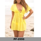 Popular estoque amarelo malha solta Sheer Ladies Beach Cover Up
