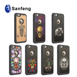 PC and PU sticker Back Cover custom case for iphone 6 plus 5.5