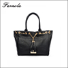 Black 100% genuine leather lady fashion handbag for sale