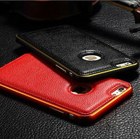 Hot Seller Genuine Leather Metal Aluminum Bumper Combo Frame Case For iPhone 6/6 Plus