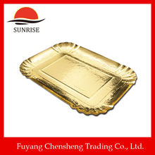 dishes and plates gold pet film coated disposable paper plate gold paper plate