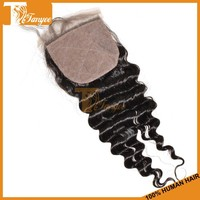 Large stock and quick delivery 1 PC 10inches bleached knots silk base closure virgin peruvian deep wave hair
