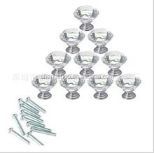 10Pcs/Lot 30mm Clear Crystal Glass Kitchen Cabinet Knobs Handles Dresser Cupboard Door Knob Pulls Hardware Screw