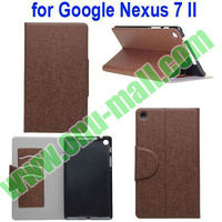Flip Magnetic Leather Wallet Case for Google Nexus 7 II 2 2nd Generation with Card Slots and Stand