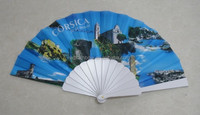 23cm plastic hand fan with fabric cover