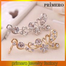 PRIMERO Fashion lady 's like earring real 2015 hot sale crystal butterfly flower cuff stud earrings