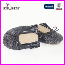 Cheap ladies shoes wholesale women shiny flat shoes