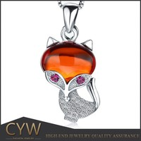 CYW hot new products for 2015 fox design pendant garnet 925 sterling silver jewellry for wholesales