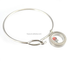 2015 Hot sale stainless steel round shape locket floating bangle