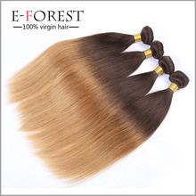 Top grau brasileira do cabelo humano Ombre de seda marca reta cabelo tecer