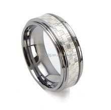 Silver Inlay Tungsten Ring, 8mm Tungsten Ring Unisex Wedding Band Silver Inlay Polished Step Edge Comfort Fit