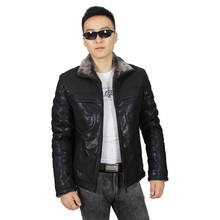 High Quality Warm Men Fur Collar Black Leather Jacket