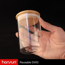 Heat Resistant Borosilicate Glass 100-1500ml Storage Glass Jar With Seal Airtight Wood Lid Wholesale