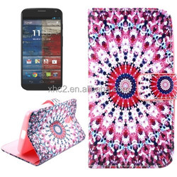 Wholesale Fashion Printed Cross Texture Leather Case with Holder and Card Slots for Motorola Moto G2