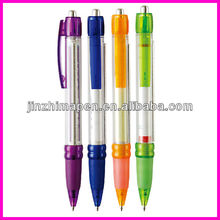 Transparent clip and rubber grip design banner ball pen