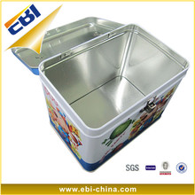 Aluminum round small metal hinged lid tin box