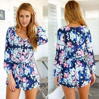 jumpsuits for women 2015 print long sleeve short hot girl club sexy women without pants AL0021