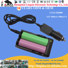 US 4.2V 600mA qualify li-ion battery charger with DC4.2V car charger additional function