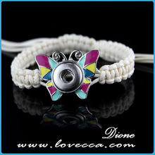 adjustable white only rope woven snap button bracelet with colorful Butterfly charm