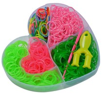 2015 newest heart shape rubber bands each box colorful loom rubber bands ,crazy loom bands 1000 wholesale for children