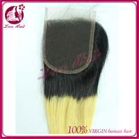 24h sale high quality Swiss lace indian hair 3 part two tone ombre blonde color silk base closure