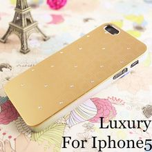 High Quality luxury PC+Aluminum cell phone case for iPhone 5 iphone5 5s bling back cover new arrival,5 colors free shipping